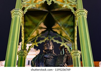 Wittenberg, Saxony-Anhalt / Germany - February 25th 2017: Martin Luther Monument at market square in front of the Wittenberg City church