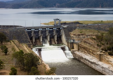 Wivenhoe Dam spillway near Brisbane, Queensland Australia. Wivenhoe is the primary drinking source for South East Queensland and played a controversial role in the Flood of 2011.