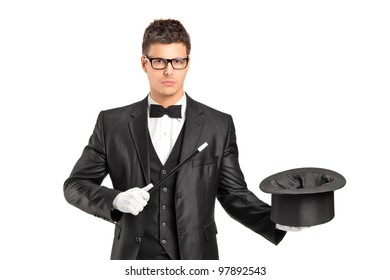 A wizard holding a magic wand and empty top hat isolated on white background