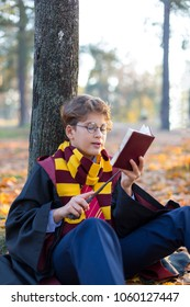 Wizard, Magic Wand, cute boy outdoor is reading book and spelling incantations in the autumn park. Cosplay costume