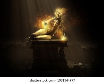 wizard woman character casting spell