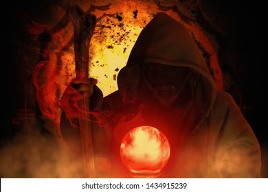 Wizards and crystal ball with smoke on dark background.