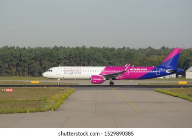 Wizzair, Airbus 321 taking off from Eindhoven airport, The Netherlands, September 2019
