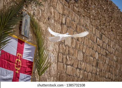 Wjite dove at Holy Lavra of Saint Sabbas, Mar Saba. Eastern Orthodox Christian monastery there letter containing Secret Gospel of Mark was found. Near Jerusalem and the Dead Sea. West Bank, Israel.