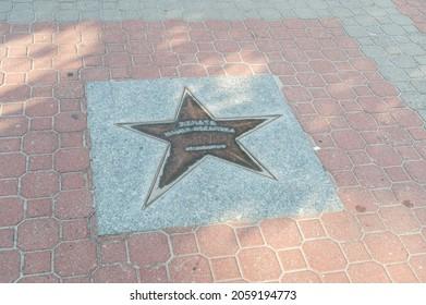 Wladyslawowo, Poland - July 21, 2021: Star of Renata Mauer-Rozanska at Sports Stars Alley.