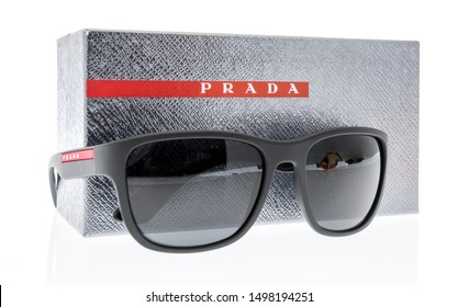 Wnneconne, WI - 4 September 2019:  A pair of Prada Linea Rossa polarized sunglasses on an isolated background.