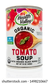 Wnneconne, WI - 4 September 2019:  A package of Health Valley organic tomato soup on an isolated background.