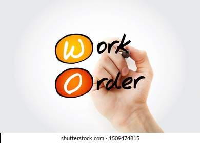 WO - Work Order acronym with marker, business concept background