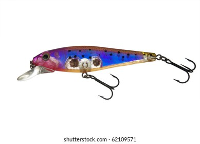 Wobbler minnow isolated on white background