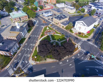 Woburn Common and City Hall aerial view in downtown Woburn, Massachusetts, USA.