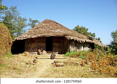 Wodden long house in Longwa tribal village, Mon, Nagaland, India, Myanmar