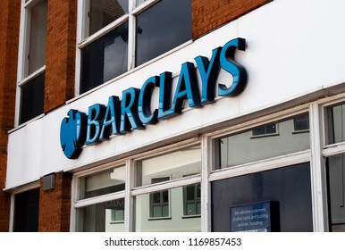 Wokingham, Berkshire, England - August 31, 2018: Barclays Bank local branch, British multinational investment and financial services company headquartered in London