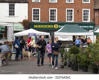 Wokingham, Market Place, Berkshire, England - October 3, 2015: Wokingham Saturday market