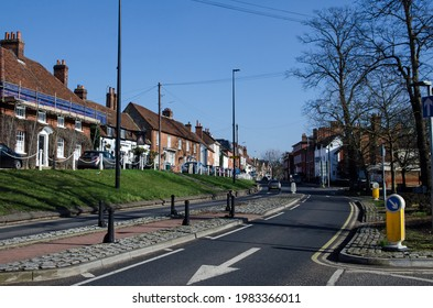 Wokingham, UK - February 28, 2021:  View of the historic Terrace and Shute End in the middle of the Berkshire town of Wokingham on a sunny Spring day.