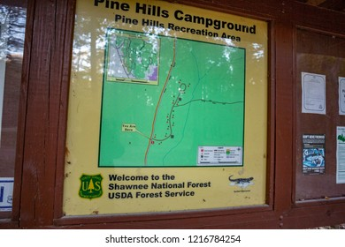 Wolf Lake, IL / USA - October 22, 2018: Pine Hills is a rugged campground within the Shawnee National Forest. The only amenities are vault toilets.
