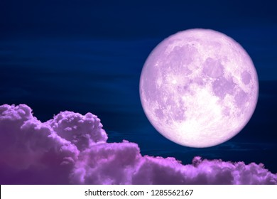 wolf moon back on silhouette colorful heap cloud on night sky, Elements of this image furnished by NASA