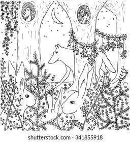 Wolf and rabbits. Hand drawn illustration.