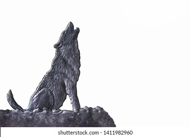 wolf in silhouette howling to the full moonhe wolf howls at the moon. Night. Scary, Thriller, scary, Howling Dog Night devil.