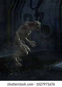 Wolf Zombie,3d art fiction for book cover or book illustration