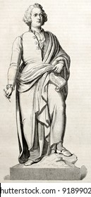 Wolfgang Amadeus Mozart bronze statue in Salzburg, old illustration. Created by Staal after Schwanthaler sculpture, published on Magasin Pittoresque, Paris, 1845