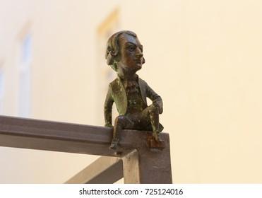 Wolfgang Amadeus Mozart mini sculpture photo: Uzhhorod, Ukraine - April 2, 2017