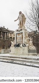 The Wolfgang Amadeus Mozarts' statue in Vienna in winter time