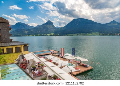 WOLFGANG, AUSTRIA - JULY 25, 2017: St. Wolfgang City on Wolfgangsee lake, Salzkammergut, Austria in a beautiful summer day