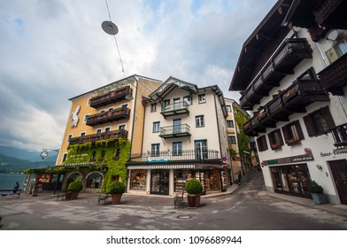 WOLFGANGSEE, AUSTRIA, MAY 27, 2015 : street view of beautiful building in Wolfgangsee, Austria