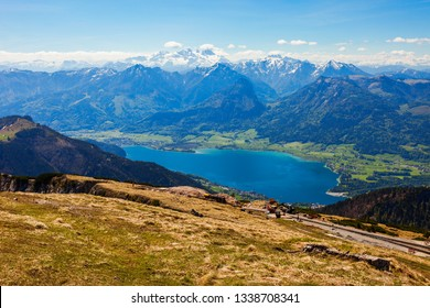 Wolfgangsee lake aerial panoramic view from Schafberg viewpoint, Upper Austria. Wolfgangsee lake located in the Salzkammergut region of Austria.
