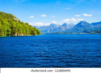 Wolfgangsee lake in Austria. Wolfgangsee is one of the best known lakes in the Salzkammergut resort region of Austria.