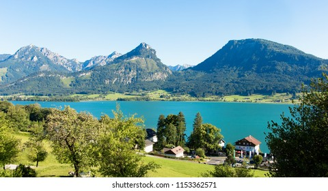 Wolfgangsee lake in Austria. Wolfgangsee is one of the most beautiful lakes in the Salzkammergut region of Austria
