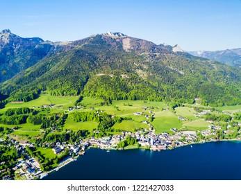 Wolfgangsee lake and St. Wolfgang im Salzkammergut town aerial panoramic view in Austria