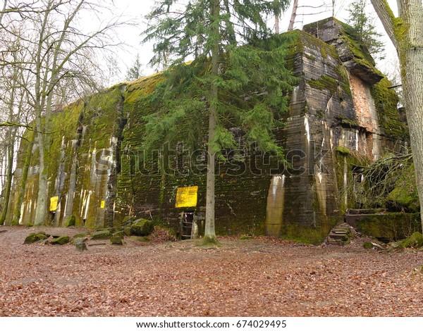 Wolf's Lair (Wolfsschanze, Wolfschanze, Wilczy Szaniec), Adolf Hitler's  military headquarters in World War II, Gierloz near Ketrzyn, Poland. The attempted assassination of Hitler took place here.