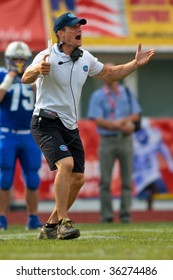 WOLFSBERG, AUSTRIA - AUGUST 22 American Football B-EC: Head Coach James Brockman Olivo and his team lose 17:27 to the Czech Republic on August 22, 2009 in Wolfsberg, Austria.