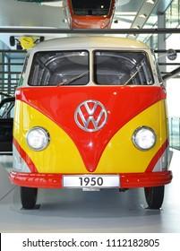 Wolfsburg, Germany - April 21, 2018. Volkswagen Typ 2 van at Autostadt theme park in Wolfsburg.