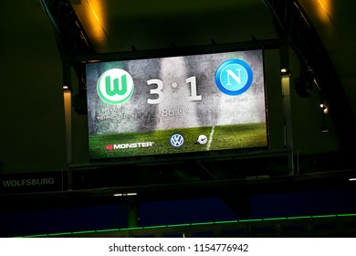 Wolfsburg, Germany, August 11, 2018: The screen shows the score in the second half during the match between Vfl Wolfsburg - SSC Naples (3:1) at Volkswagen Arena in Wolfsburg, Germany.