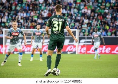 Wolfsburg, Germany, August 11, 2018: Robin Knoche in action during the match between Vfl Wolfsburg - SSC Naples at Volkswagen Arena in Wolfsburg, Germany.