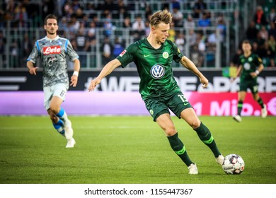 Wolfsburg, Germany, August 11, 2018: footballer Yannick Gerhardt kicking the ball during the match between Vfl Wolfsburg - SSC Naples on August 11, 2018. Photo by Michele Morrone