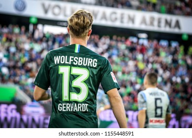 Wolfsburg, Germany, August 11, 2018: Vfl Wolfsburg footballer, Yannick Gerhardt 13, during a match at Volkswagen Arena in Wolfsburg, Germany. Photo by Michele Morrone
