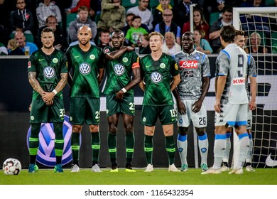 Wolfsburg, Germany, August 11, 2018: some professional soccer players during a match between Vfl Wolfsburg - SSC Naples on August 11, 2018.
