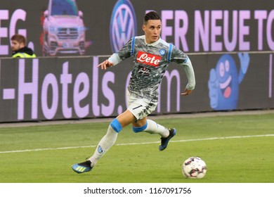 Wolfsburg, Germany, August 11, 2018: football player José Callejón in action during a soccer match with Napoli shirt on 2018-2019 season.
