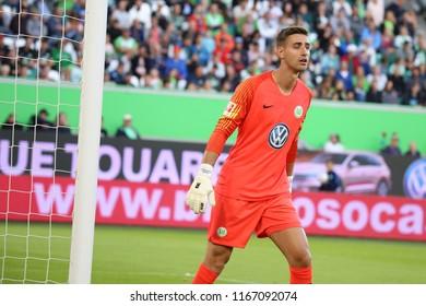 Wolfsburg, Germany, August 11, 2018: goalkeeper Koen Casteels with VfL Wolfsburg shirt on 2018-2019 season at Volkswagen Arena in Wolfsburg.