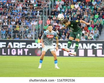 Wolfsburg, Germany, August 11, 2018: football players Renato Steffen and Marek Hamsik in action during a match on August 11, 2018 at Volkswagen Arena in Wolfsburg.