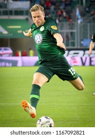 Wolfsburg, Germany, August 11, 2018: soccer player Yannick Gerhardt in action during a match at Volkswagen Arena on 2018 - 2019 season.