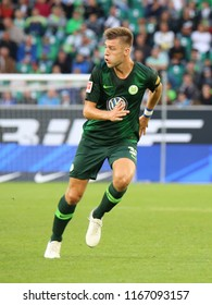 Wolfsburg, Germany, August 11, 2018: football player Robin Knoche in action during a match at Volkswagen Arena on 2018 - 2019 season.