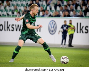Wolfsburg, Germany, August 11, 2018: soccer player Maximilian Arnold in action during a football match at Volkswagen Arena on 2018 - 2019 season.