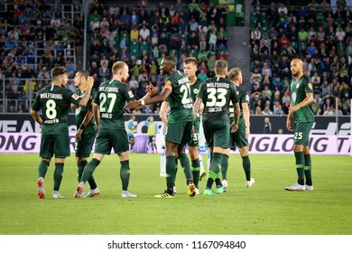 Wolfsburg, Germany, August 11, 2018: Vfl Wolfsburg team celebrates the victory during a match on 2018 - 2019 season at Volkswagen Arena in Wolfsburg.