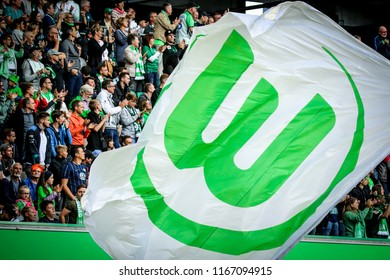 Wolfsburg, Germany, August 11, 2018: large flag around the VfL Wolfsburg fans during a bundesliga match at Volkswagen Arena in Wolfsburg.