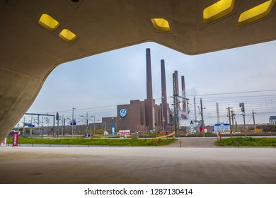 WOLFSBURG, GERMANY - CIRCA DECEMBER, 2017: Cityscape of Wolfsburg town with Volkswagen Plant, Germany