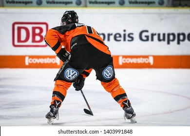 Wolfsburg, Germany, February 20, 2019: Wolfsburg ice hockey player in action during the German first division game between Grizzlys Wolfsburg and Augsburger Panther at EisArena in Wolfsburg, Germany.